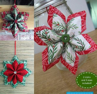 Holiday Stars 3D Hanger or Tabletopper Pattern by Poorhouse Quilt Designs