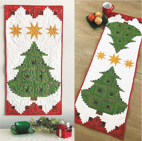 Pine Tree Banner or Tablerunner Pattern by Cut Loose Press