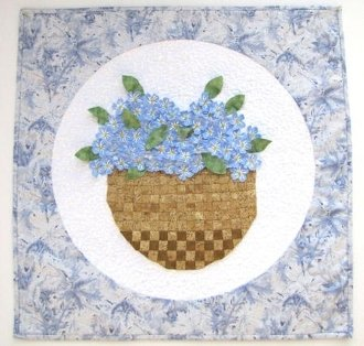 Basket of Forget-Me-Nots Wallhanging Pattern by Petal Play Designs