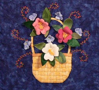 Basket of Roses and Hydrangeas Wallhanging Pattern by Petal Play Designs
