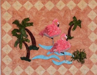 Flamingo With Palm Trees Wallhanging Pattern by Petal Play Designs