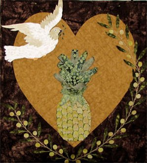 Welcome Peace Dove Applique Wallhanging Pattern by Petal Play Designs