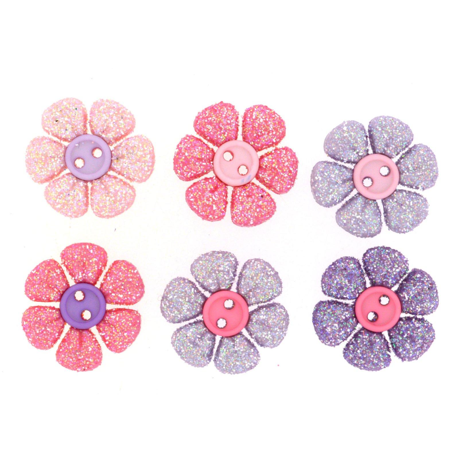 Princess Petals Set of 6 Glitter Buttons by Dress it Up
