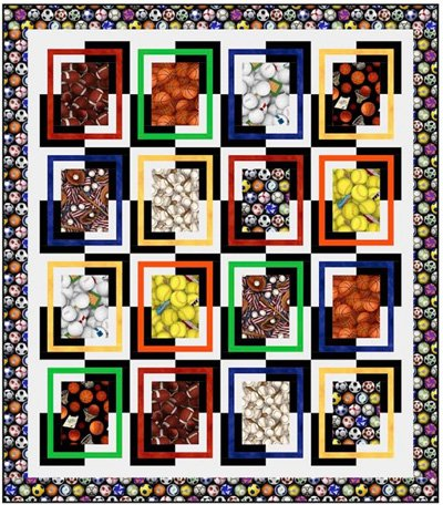 Print Splits Sports Quilt Pattern by Pine Tree Country Quilts