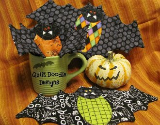 Going Batty Mug Rugs Pattern by Quilt Doodle Designs