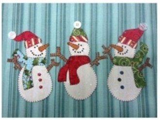 Snowman trio applique pattern by quilt doodle designs