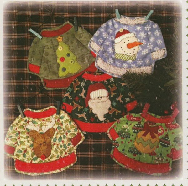 Ugly Christmas Sweater Set of 4 Mug Rug Patterns by Quilt Doodle Designs