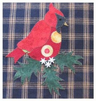 Winter Cardinal Applique Wallhanging Pattern by Quilt Doodle Designs