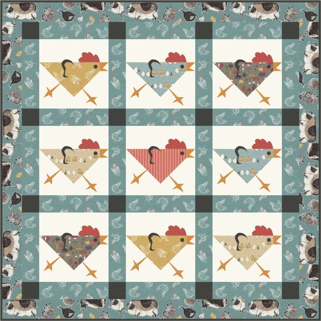 Running Chickens Wallhanging Placemats and Table Runner Pattern by Quilt Design NW