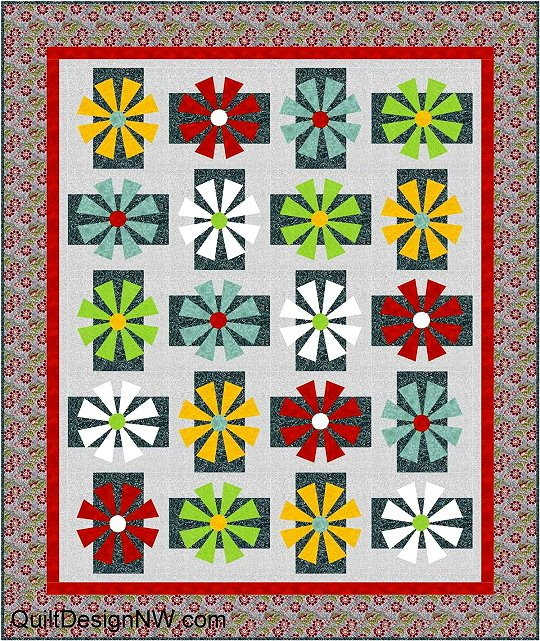 Strawflower Quilt Pattern in 2 Sizes by Quilt Design NW