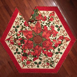 Holly Time Table Topper or Tree Skirt Pattern by Quilted Garden Designs