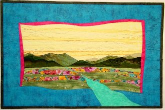 Meadows and Mountains Wallhanging Pattern - Accidental Landscapes #1 by The Quilted Lizard
