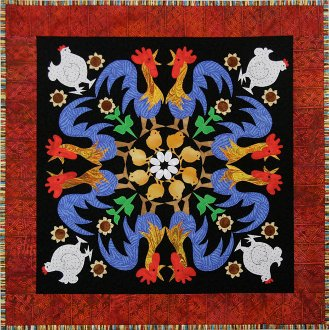 Rowdy Roosters Wallhanging Pattern - Circle of Friends #9 by The Quilted Lizard