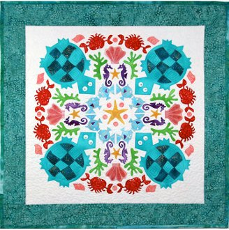 Turquoise Turtles Wallhanging Pattern by The Quilted Lizard