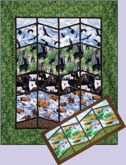 A View of Alaska's Bears Quilt and Table Runner Pattern by Quilts with a Twist
