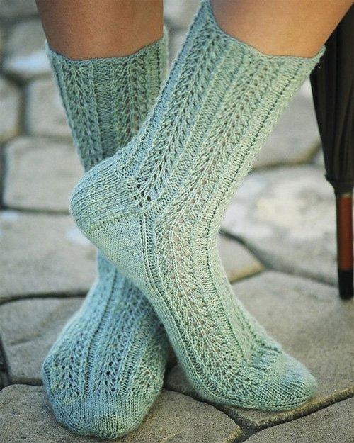 Raindrop Lace Socks Knitting Pattern by Fiber Trends