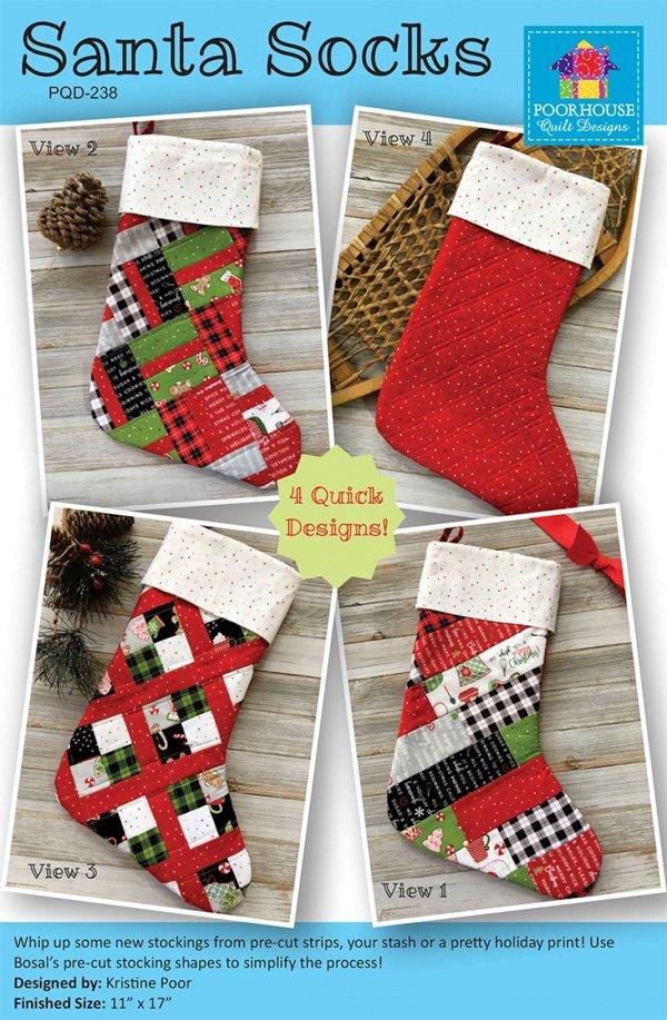 Santa Socks Pattern by Poorhouse Quilt Designs