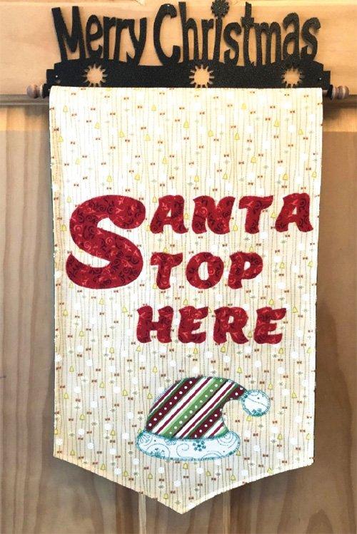 Santa Stop Here Door Hanger Pattern by Cut Loose Press