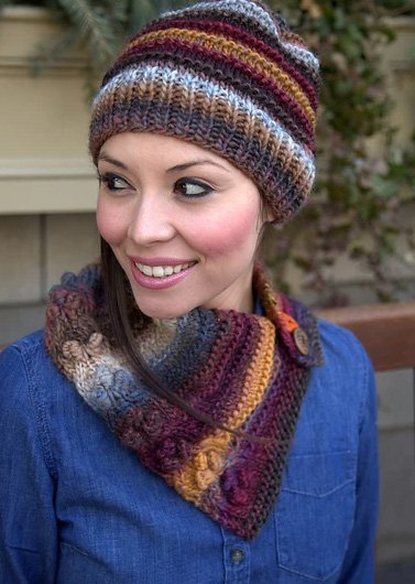 Scarf and Hat Set Knitted Pattern 2876 by Plymouth Yarns
