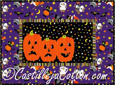 Scary Pumpkins Placemat or Banner Pattern by Castilleja Cotton