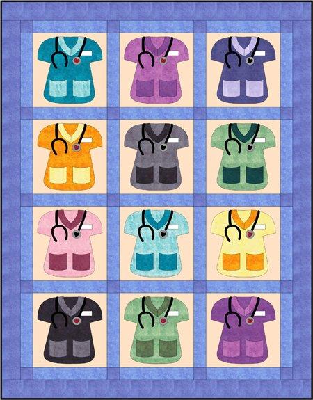 Scrubs Quilt Pattern With Bonus Heart Block by Fat Cat Patterns