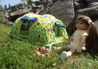 Backwoods Bungalow Tent Pattern for 18 Dolls by Sisters Common Threads