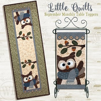 September Hoot And Holler Applique Wallhanging and Tablerunner Pattern and Button Pack by The Wooden Bear