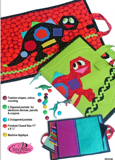 Shape-a-Saurus Activity Case and Treasure Keeper Pattern by Eazy Peazy Quilts