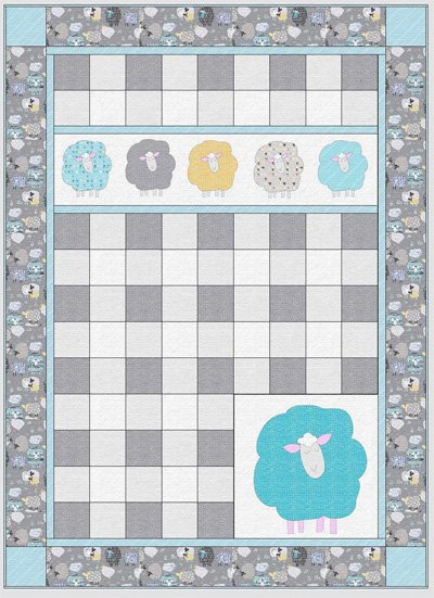 Sleepy Sheep Quilt Pattern in 2 Sizes by Whistlepig Creek Productions