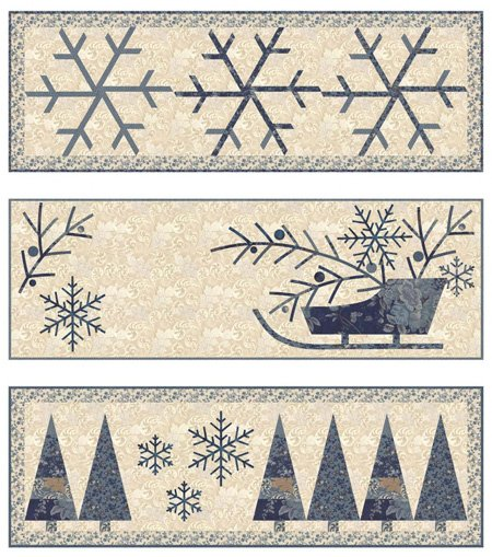 Sleigh Bell Trio Set of 3 Wallhanging Patterns by Laundry Basket Quilts