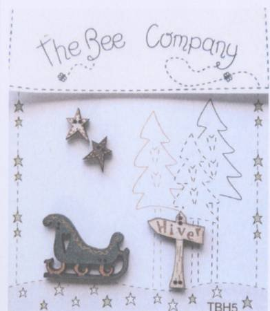 Sleigh and Stars Wooden Buttons Set of 4 by The Bee Company