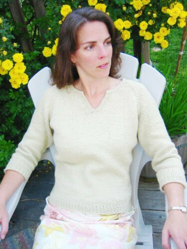 Split Neck T Shirt for Women Knitting Pattern by Knitting Pure and Simple