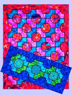 Stained Glass Bow Tie Tablerunner And Lap Quilt Pattern By Quilts With A  Twist