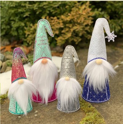 Standing Gnomes 3-D Pattern by Embroidery Garden