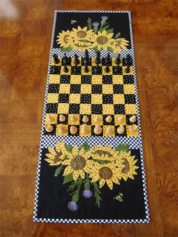 Sunflower Chess Tablerunner and Game Mat Pattern by Trouble and Boo