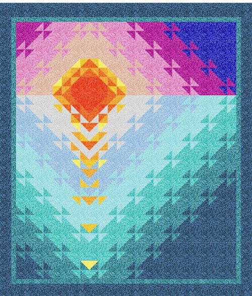Sunset at Sea Quilt Pattern in 2 Sizes by Fabric Addict