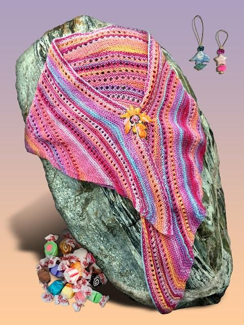 Facets of Michigan Shawl Series - Salt Water Taffy for July