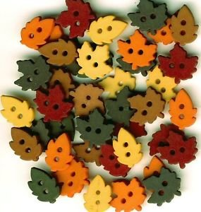 Tiny Raking Leaves Set of 35 Buttons by Dress It Up