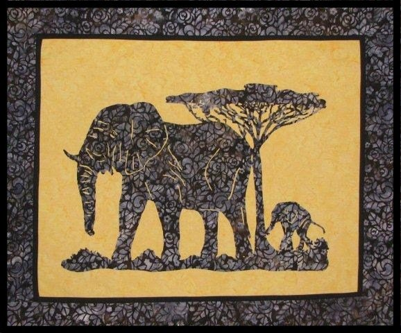 Trail of the Elephant Wallhanging Pattern by Willow Bend Creations