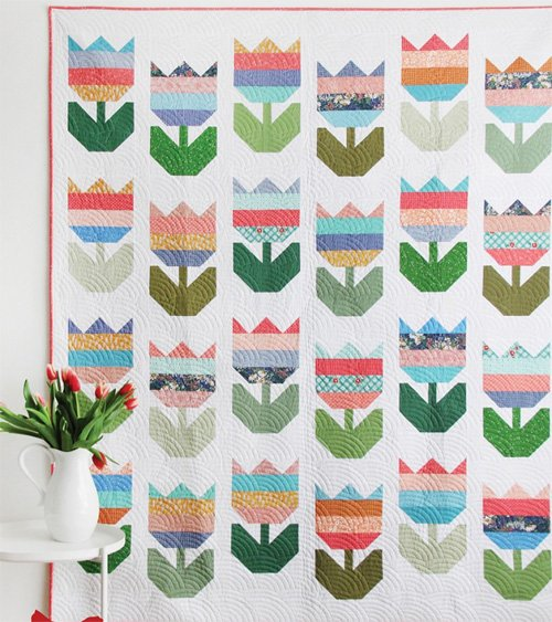 Tulips Quilt Pattern in 5 Sizes by Cluck Cluck Sew