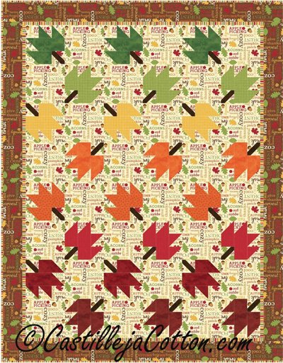 Twirling Leaves Quilt Epattern by Castilleja Cotton