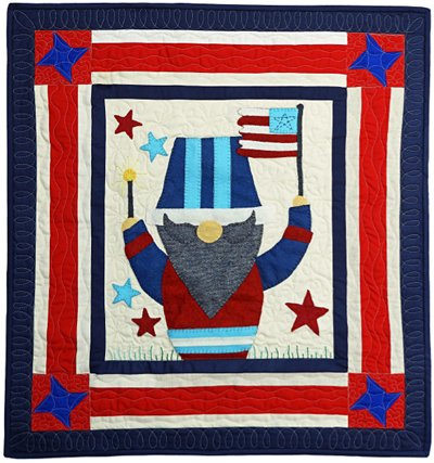 Vilhelm the Gnome July Block from the Gnomio Quilt EPattern by Charisma Horton