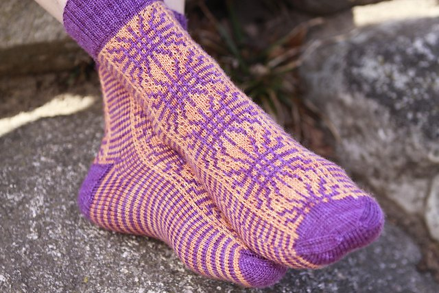 Walking on Sunshine Knitted Sock Pattern by Kelly Jensen