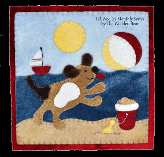 August Beach Puppy Wool Applique Pattern by The Wooden Bear