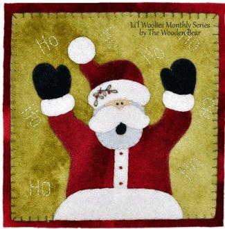 December Jolly Santa Wool Applique Pattern by The Wooden Bear