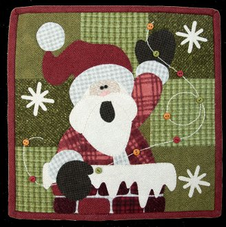 December Rooftop Santa Little Quilt Pattern by The Wooden Bear