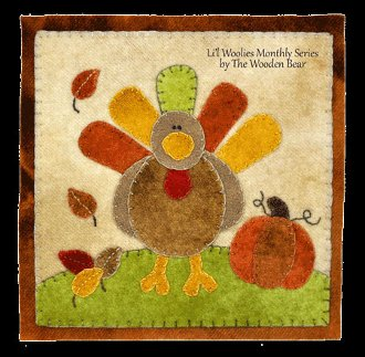 November Turkey and Pumpkin Wool Applique Pattern by The Wooden Bear