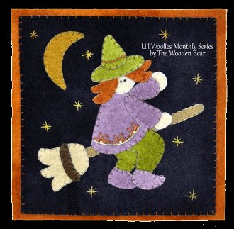 October Witch Ride Wool Applique Pattern by The Wooden  Bear