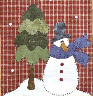 Snowman and Tree Applique Wallhanging Patternlet by The Wooden Bear
