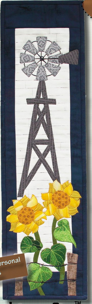 Windmills and Sunflowers Applique Wallhanging EPattern by Patchabilities
